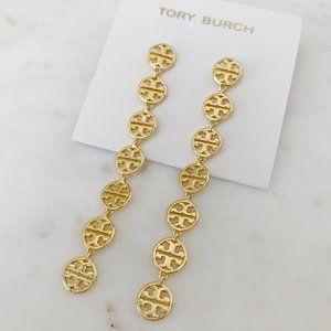 tory burch gold logo drop earring
